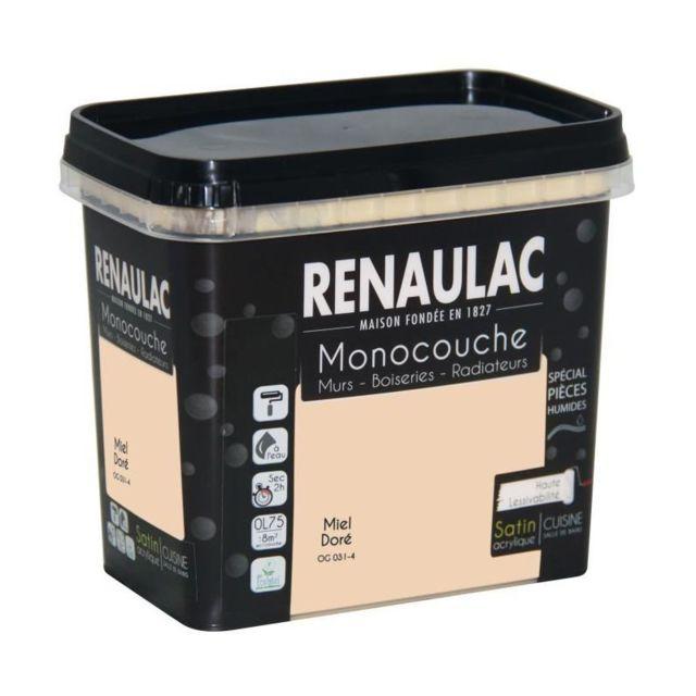 renaulac peinture murale monocouche sp ciale pieces humides 0 75 l miel dor satin pas cher. Black Bedroom Furniture Sets. Home Design Ideas
