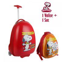 The Concept Factory - Valise cabine et sac à dos enfant Snoopy rouge