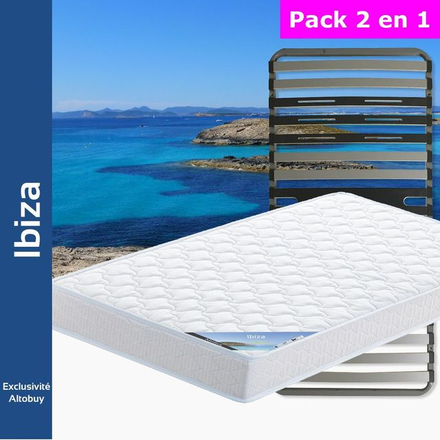 altobuy ibiza pack matelas altozone 90x190 blanc 90cm x 190cm pas cher achat vente. Black Bedroom Furniture Sets. Home Design Ideas