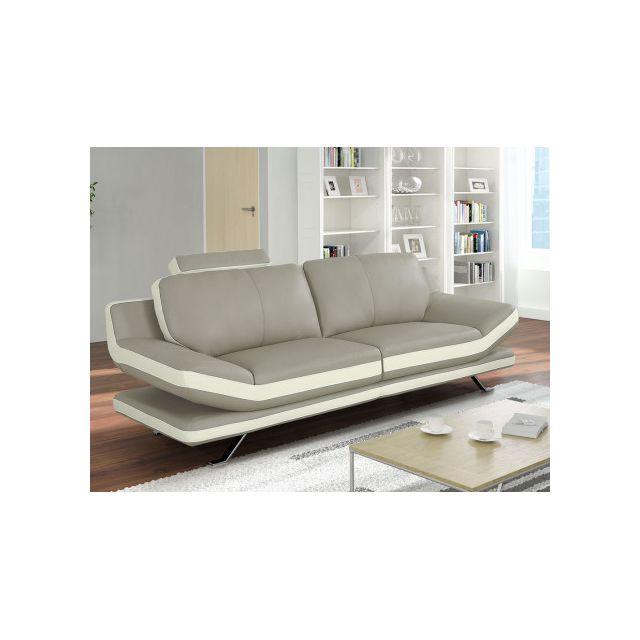 Canapé 3 places en cuir Latika - Bicolore beige et ivoire
