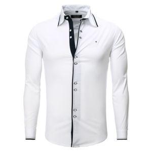 carisma chemise casual homme col italien blanche pas cher achat vente chemise homme. Black Bedroom Furniture Sets. Home Design Ideas