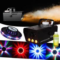 Ibiza Light - Machine à fumée 400W Lsm400LED-BK + Effet Ovni Leds Rvb + 1L Liquide Offert