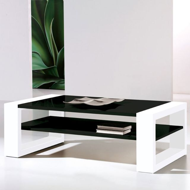 Table Basse Design Laquee Noire Et Blanche Mary
