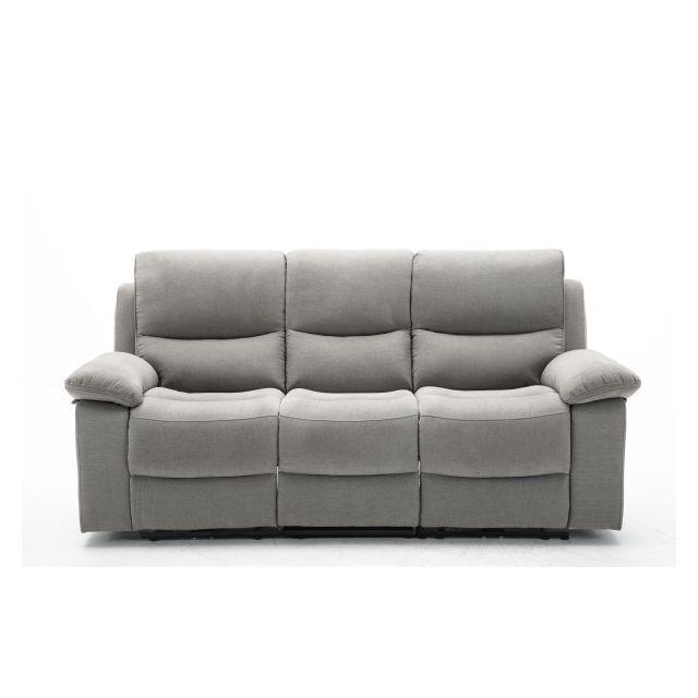 Moloo Canapé 3 places gris en tissu Relax électrique Keaton