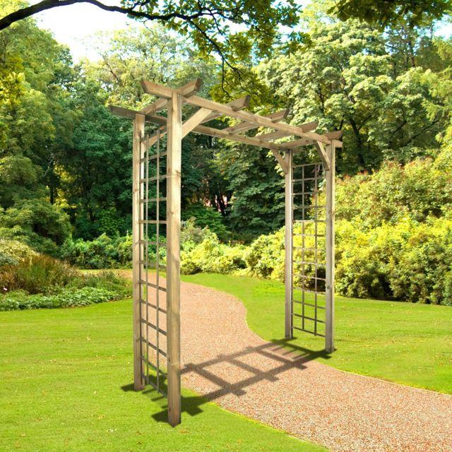 Cemonjardin Arche de jardin droite en bois traité, Jasmin