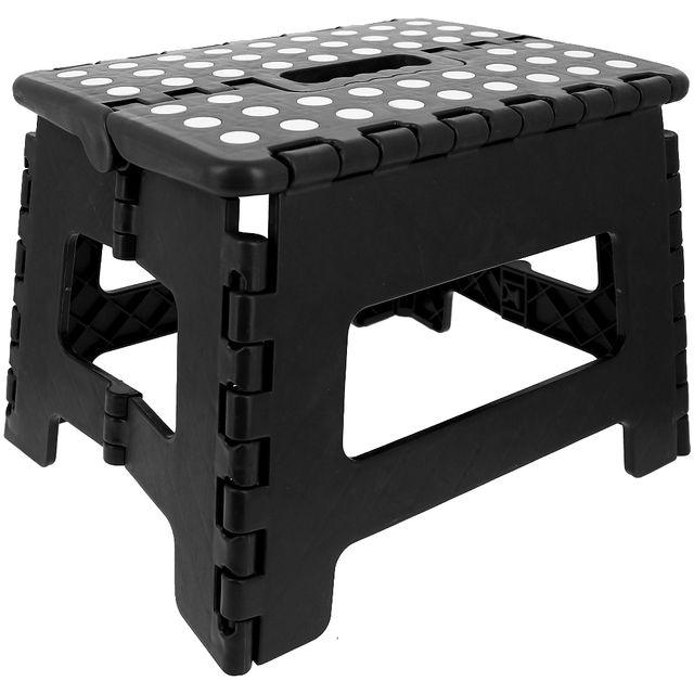 promobo marche pied pliable tabouret pliant max 150kg noir pas cher achat vente. Black Bedroom Furniture Sets. Home Design Ideas