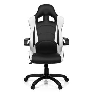 hjh office chaise gaming si ge de bureau racer pro i simili cuir noir blanc pas cher. Black Bedroom Furniture Sets. Home Design Ideas
