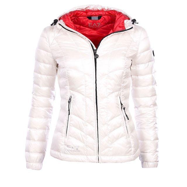 Armani - Ea7 - Armani Mountain - Doudoune à capuche blanche femme 6XTB15 7e8ea856701