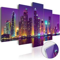 Bimago - Tableau sur verre acrylique - Purple Nights Glass