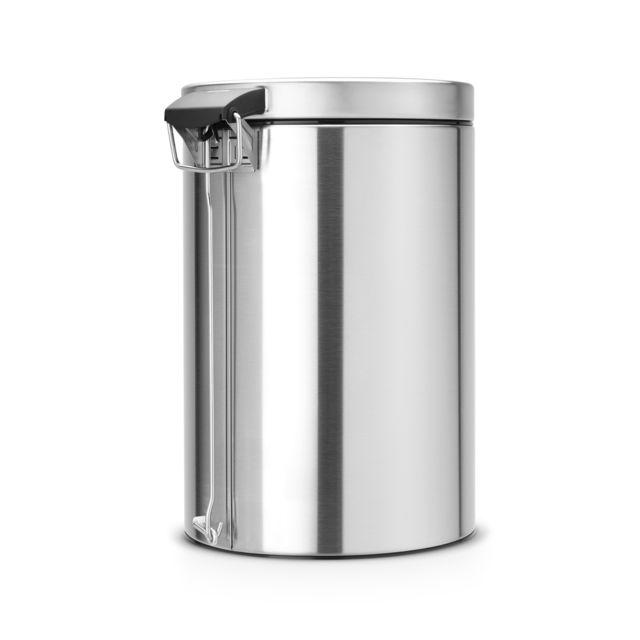 BRABANTIA Poubelle à pédale - Matt Steel En acier / Joint anti-odeur / Seau intérieur en plastique / Poignée de transport / Base anti dérapant en plastique