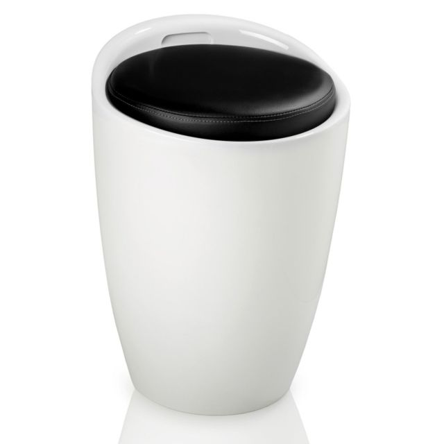 helloshop26 pouf rond tabouret si ge coffre de rangement meuble blanc et noir 1208003 pas. Black Bedroom Furniture Sets. Home Design Ideas