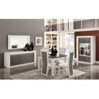 Modern salon - Ensemble laqué blanc/gris Venezia : vitrine 2 + table 100x100 + 4 chaises venezia pu blanc + bahut 195 + miroir 150