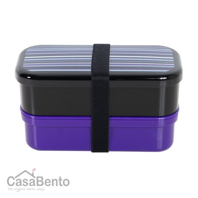 Casabento Boîte à Bento Petit Stripes Noir