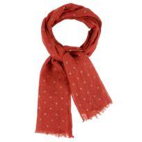 f00d9475c7c1 Les Poulettes Bijoux - Echarpe 100% Lin Etoile Dorée Colors - Rouge