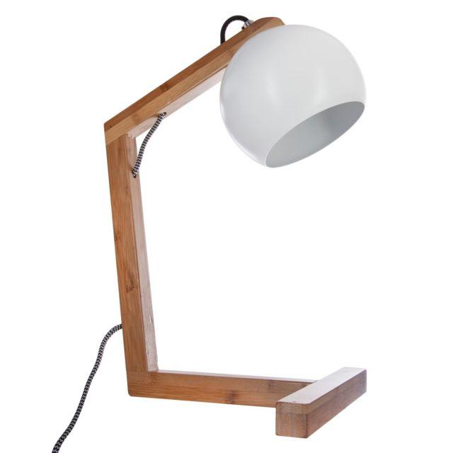 Pas Cher En À Atmosphera Poser Lampe Bambou H40 Blanc Cm ONPn0kZX8w