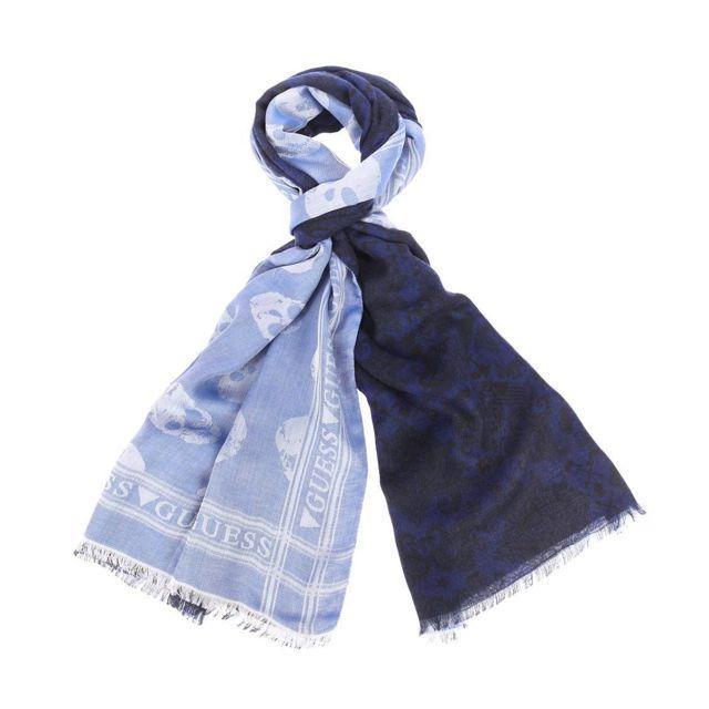 9a8f1bb5c87e Guess - Chèche en modal et viscose bleu marine à motifs noirs réversible  bleu clair à imprimé tête de mort - pas cher Achat   Vente Echarpes, ...