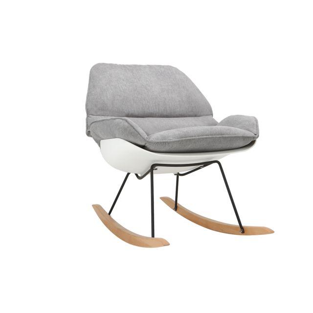 Miliboo Rocking chair design coque blanche et tissu gris Kokon