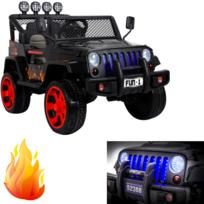 Marque Generique - Jeep voiture véhicule 4X4 électrique enfant 4 moteurs 12  volts noir flamme pack df4d7e27764c