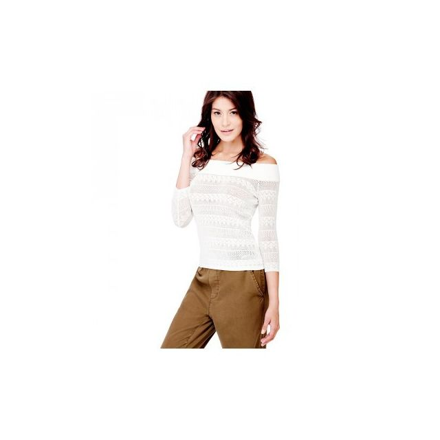 Guess - Pull Femme Ebe col bateau Blanc W82R11 - Taille - M - pas cher Achat    Vente Pulls femme - RueDuCommerce 9a852a92989