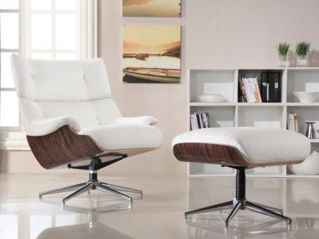 Marque Generique Fauteuil lounge cuir supérieur Soprano - blanc