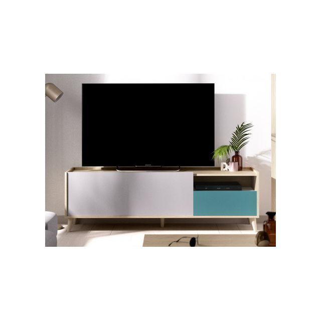 VENTE-UNIQUE Meuble TV BICA - 2 portes - Multicolores