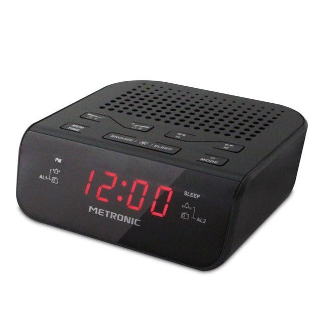 Radio réveil double alarme noir