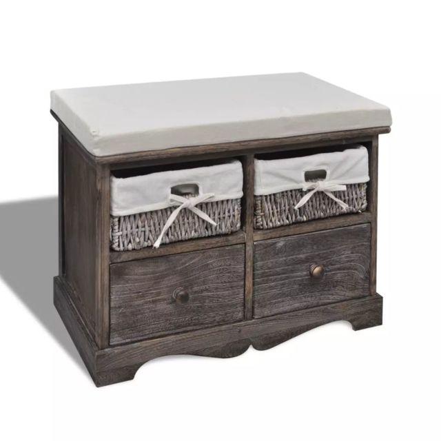 Vidaxl Banc de rangement brun en bois avec 2 paniers de tissage et 2 tiroirs | Brun