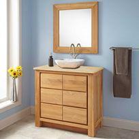Wildwater - Meuble de salle de bain en teck massif et marbre crème 90 cm - Valencia