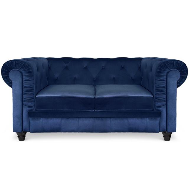 COTE COSY Grand canapé 2 places Chesterfield Velours Bleu