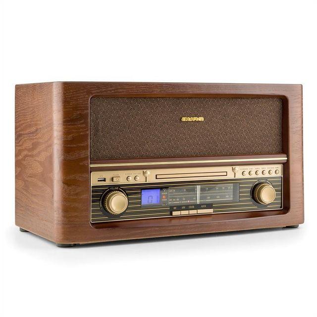AUNA Belle Epoque 1906 Chaîne hifi rétro CD USB MP3 AUX FM/AM