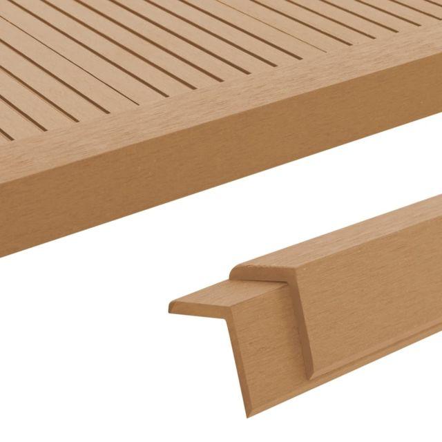 Vidaxl Cornière de terrasse 5 pcs Wpc 170 cm Couleur teck - Matériaux de construction - Tapis et revêtements de sol   Brun   Br