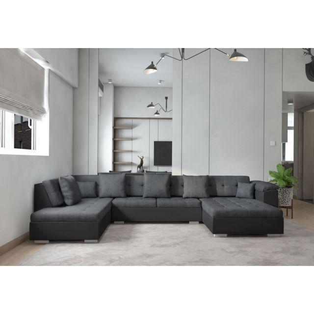 Meublesline Canapé d'angle panoramique en U Atrium gris noir angle gauche