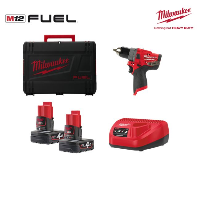 chargeur en HD-Box Milwaukee Batterie-coup électrique m12 fpd-402x 2x 4,0ah batteries