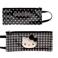 Hello Kitty - by camomilla - Trousse plate avec poignee 10 x 24cm - Lolly - Noir