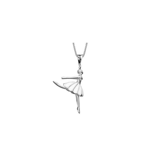 1001BIJOUX Collier argent rhodié danseuse avec résine blanche