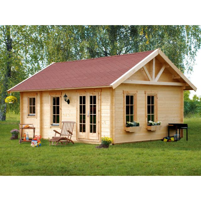 HABITAT ET JARDIN Abri jardin bois Bern - 17.64m² - 4.20 x 4.20 x 3.50 m - 45 mm