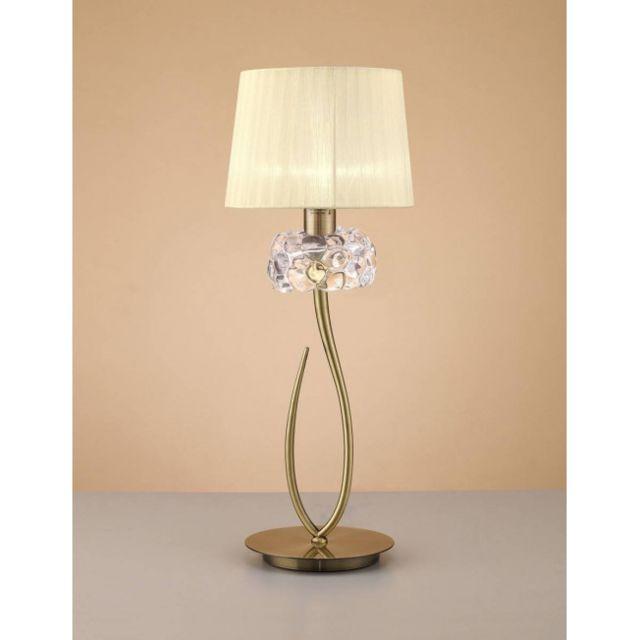 Luminaire Center Lampe de Table Loewe 1 Ampoule E27 Big, laiton antique avec Abat jour crème