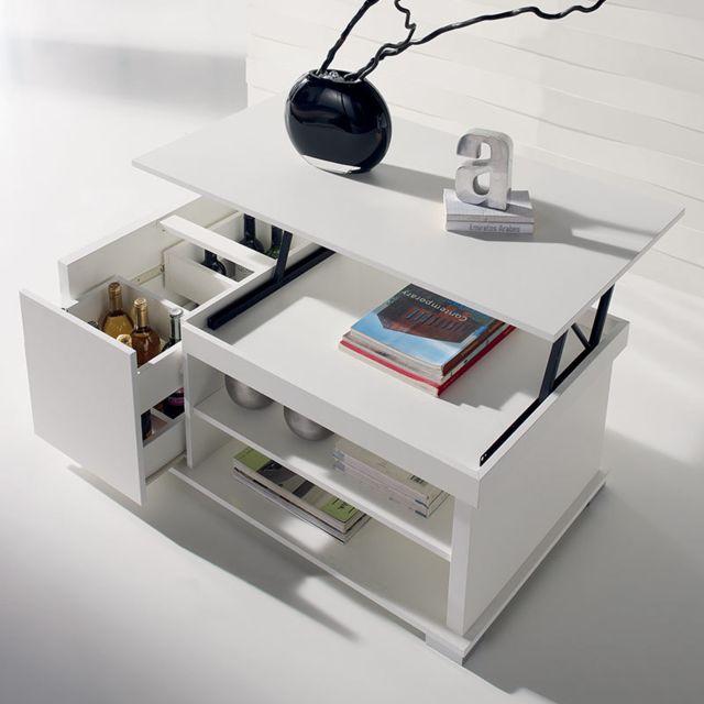 Nouvomeuble Table basse modulable blanche design Aude 2