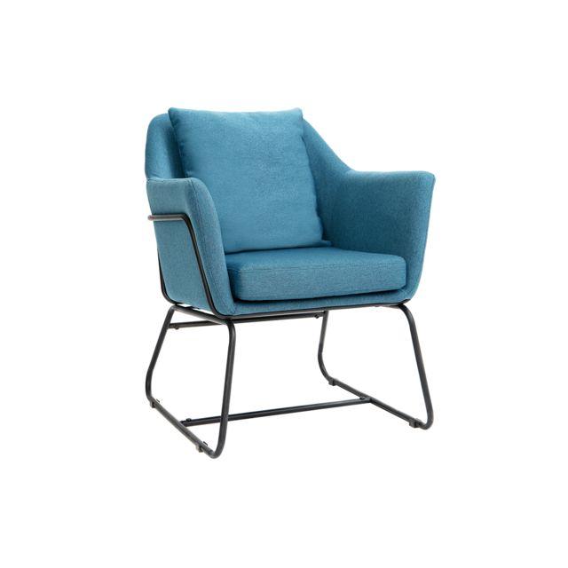 Miliboo Fauteuil design tissu bleu canard et structure métal noir Monroe