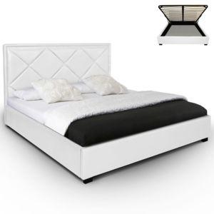 dvl deco lit coffre nethis sommier 180x200 cm blanc pas cher achat vente structures de. Black Bedroom Furniture Sets. Home Design Ideas