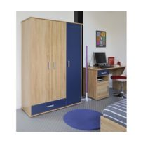 Rocambolesk - Campus Armoire 3 Portes Rs Oak Royal Blue