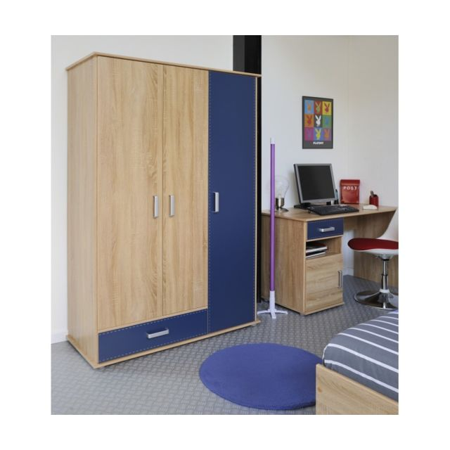 Rocambolesk Campus Armoire 3 Portes Rs Oak Royal Blue