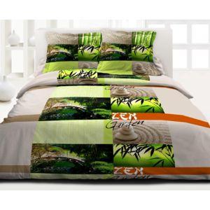 le linge de jules housse de couette 220x240 2 taies pur coton 57 fils zen garden pas cher. Black Bedroom Furniture Sets. Home Design Ideas