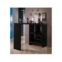 Vente-unique - Meuble de bar extensible Fizz Ii - Mdf laqué - Coloris noir