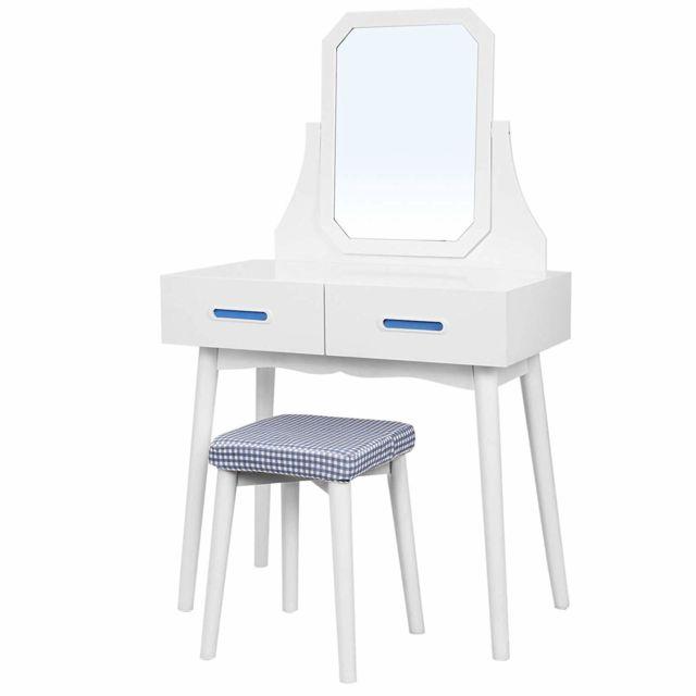 Coiffeuse moderne table de maquillage avec miroir, tabouret et 2 tiroirs,  en bois Mdf, pour chambre, dressing, Blanche Rdt42WT
