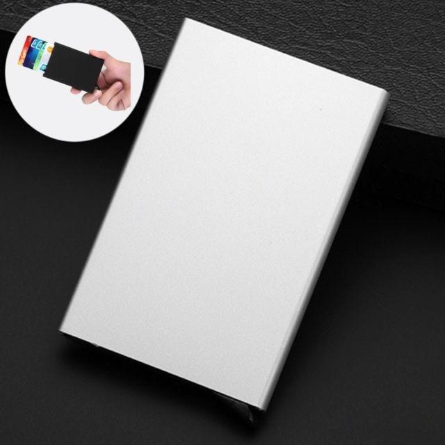 wewoo porte cartes blanc antimagn tique acier inoxydable pu de visite cas de carte de cr dit. Black Bedroom Furniture Sets. Home Design Ideas