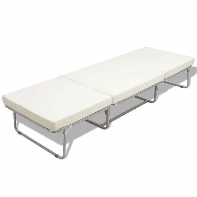 Icaverne - Lits et cadres de lit selection Lit/ tabouret pliant avec matelas 200 x 70 cm Acier