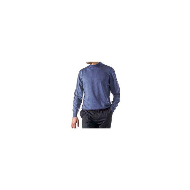 Kebello - Pull Merinos Col Cheminée Bleu - pas cher Achat   Vente Pull homme  - RueDuCommerce f2ee103507b7