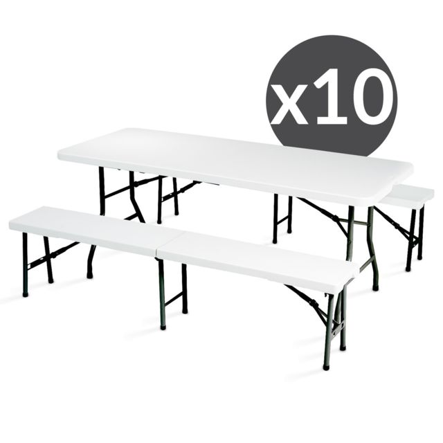 Mobeventpro Tables et bancs pliants 180 cm - Lot de 10
