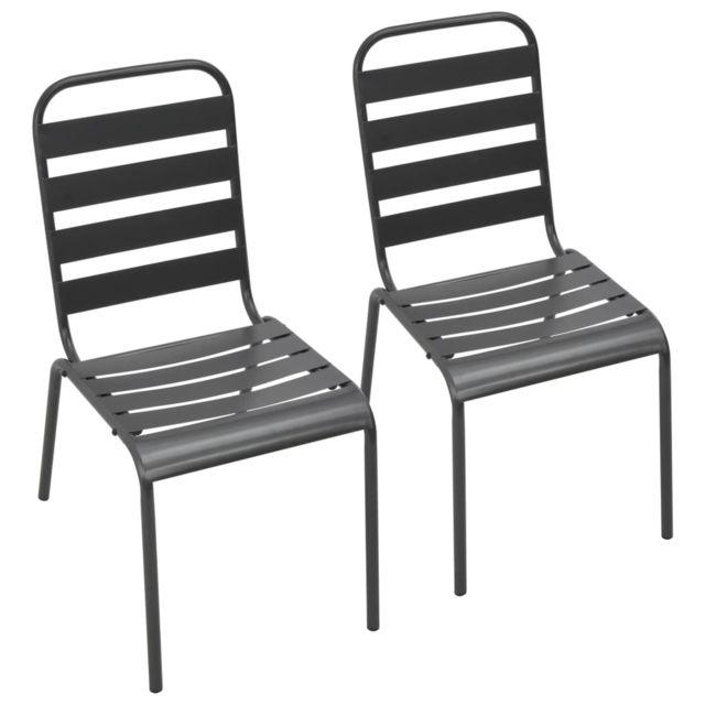 Chaises empilables de d'extérieur 2 pcs Acier Gris